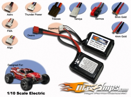 Lipo 5500mah 2S5P 7.4V Saddle Pack
